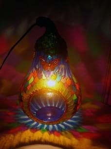 LAMPARA vidrio PERA TOTALY ENCENDIDA